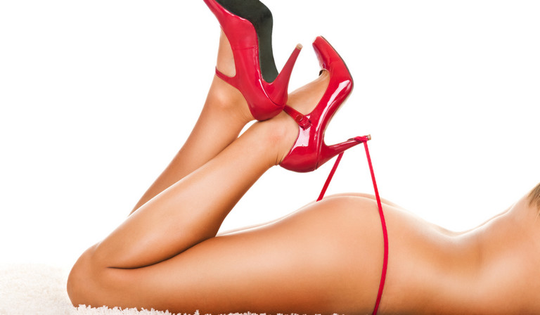 Red Heels and Red Bondage Toys Work Together